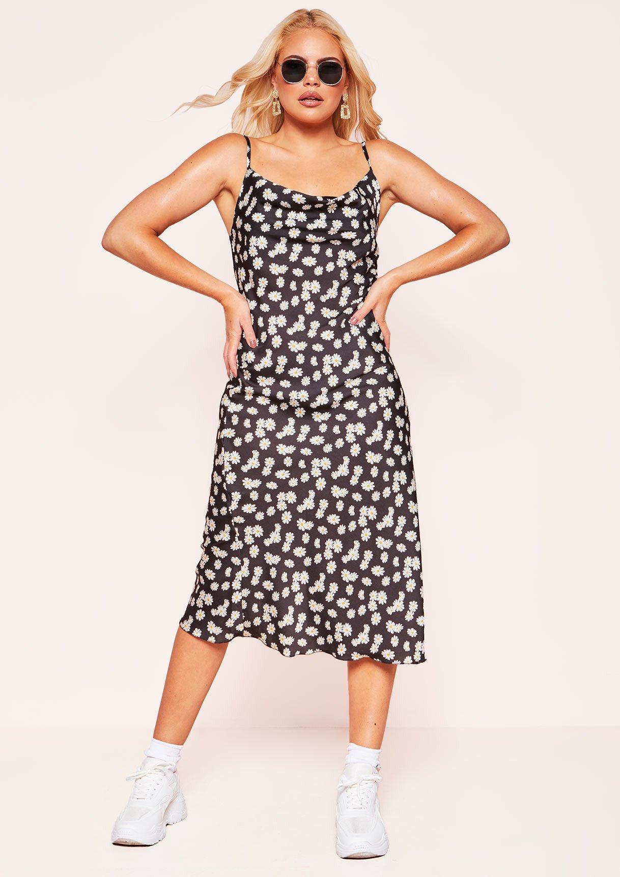 Saphire Black Floral Print Cowl Slip Dress