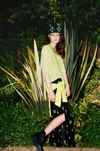 underwear neon green dolman sweater green print maxi skirt sneakers nastygal bag skirt hat shoes
