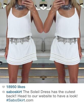 dress white dress jewels fashion style silver tank top skirt