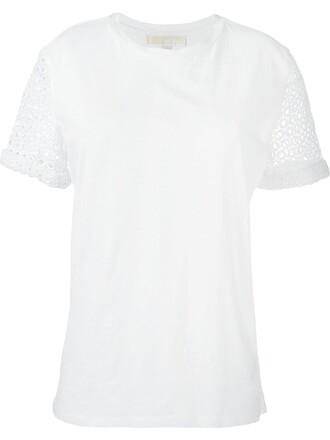 t-shirt shirt women white cotton crochet top