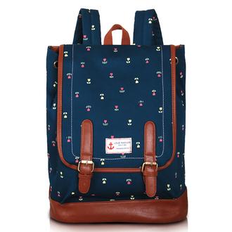 bag backpack school bag flower blue leather bag cute