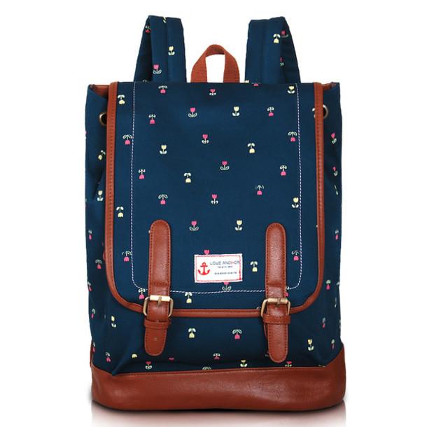 bag backpack school bag flowers blue leather bag cute