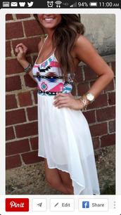 dress,aztec,aztec dress,white dress,white top