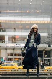 top,striped top,coat,blue coat,navy coat,black jeans,boots,black boots,beret,stripes,trench coat,jeans