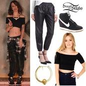 shirt,cher lloyd,pants,black pants,leather pants