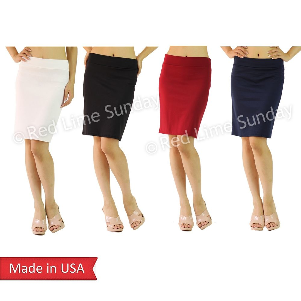 Woman Solid Black White Red Navy Mini Above Knee Straight Tube Pencil Skirt USA