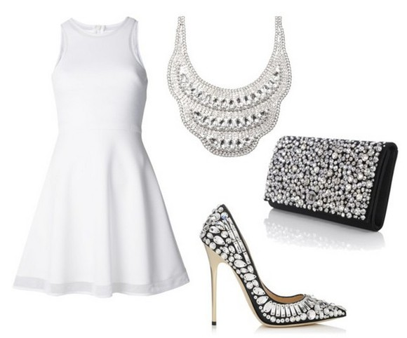 shoes white shoes bag white high heels diamonds jewels dress