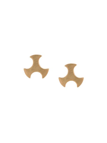 Polina Sapouna Ellis women earrings stud earrings gold grey metallic jewels