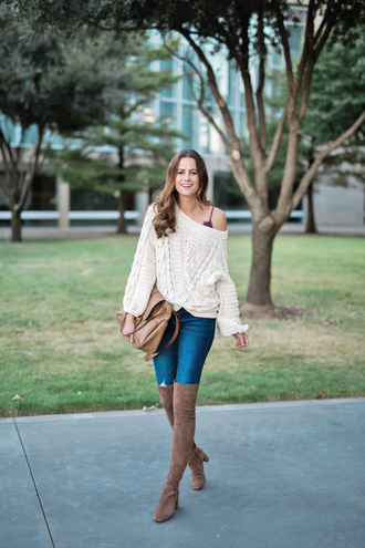 sweater tumblr off the shoulder sweater off the shoulder knit knitwear knitted sweater denim jeans blue jeans boots over the knee boots over the knee bag