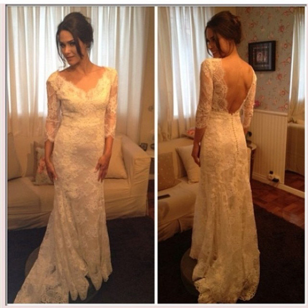 wedding dress dress long sleeve dress lace dress backless dress