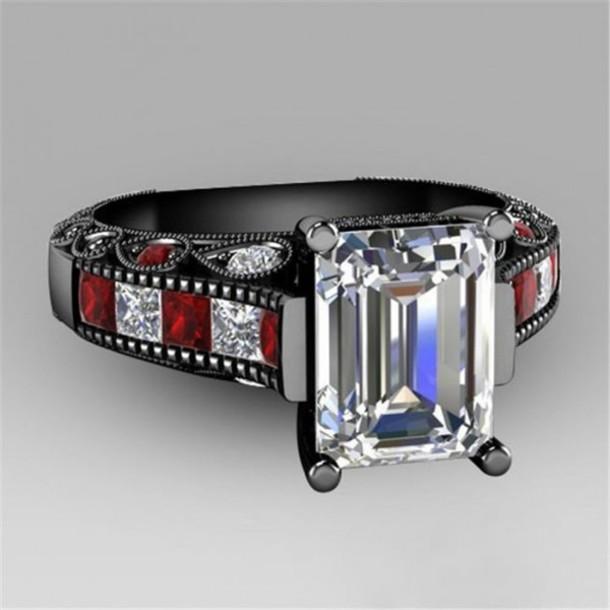 Jewels fashion jewelry black gold ring evolees emerlad cut diamond vi