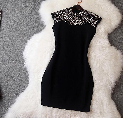 Shining rivet show body hot dress