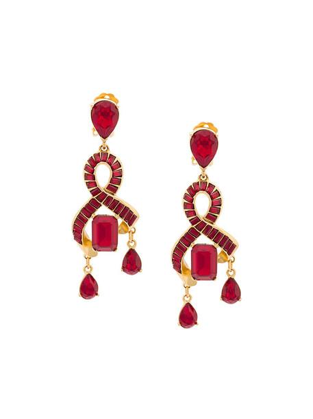 oscar de la renta women earrings red jewels