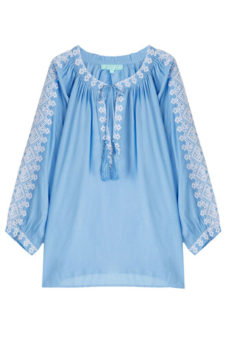 blouse tunic embroidered blue top