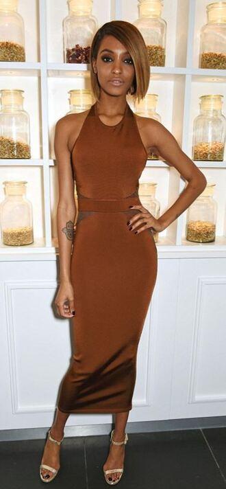 dress sandals bodycon dress midi dress jourdan dunn model nude dress rust