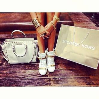 shoes high top sneakers sneakers gold sneakers metallic shoes white sneakers gold bracelet