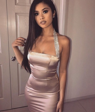 dress diamonte dress satin satin dress birthday dress bodycon dress halter neck halter neck dress rose gold dress