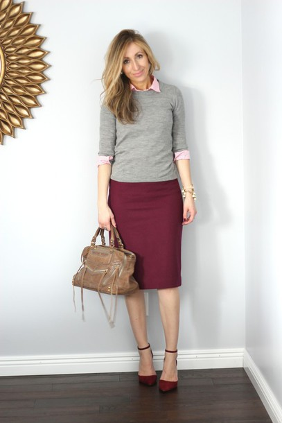 Sweater: lilly's style, blogger, grey sweater, purse, pencil skirt ...