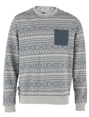Grey Aztec Print Pocket Jumper