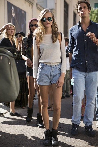 shorts cara delevingne sweater shoes jewels sunglasses
