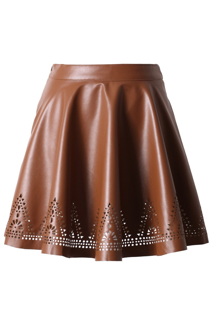 brown faux leather skater skirt with cut out detail