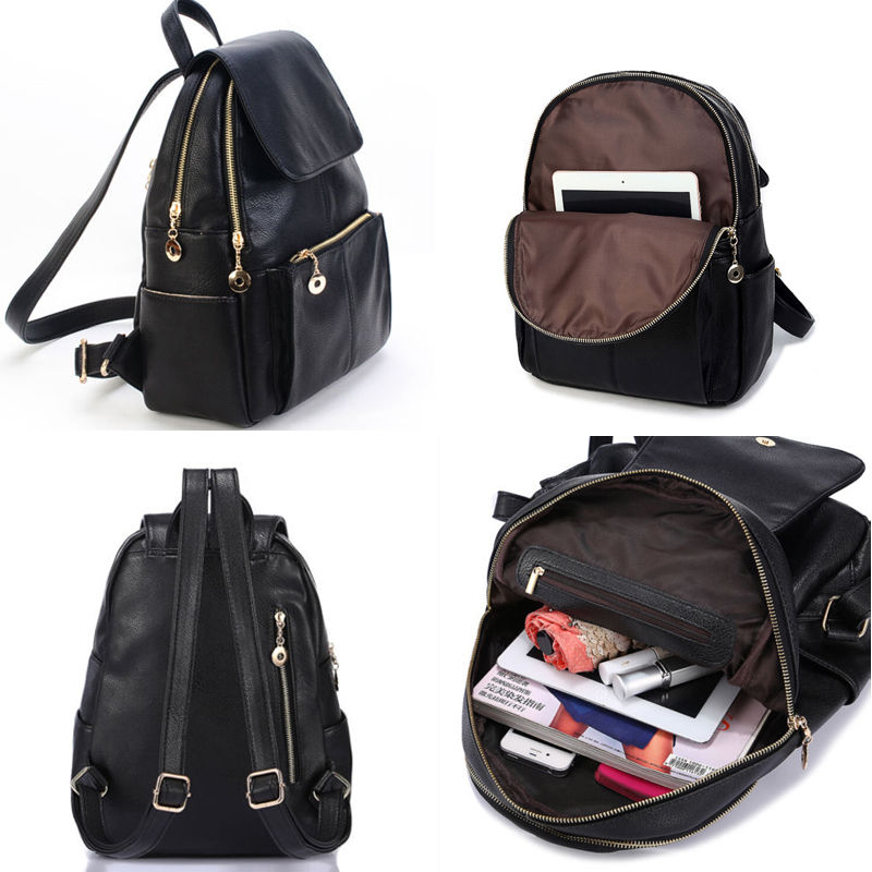New Fashion Womens Faux Leather Travel bags Satchel Backpack ... 776527252c8ba