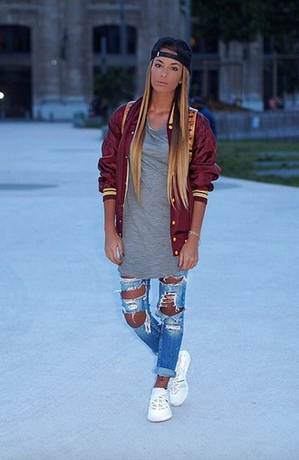 jeans oversized sneakers hat merylmow ripped jeans
