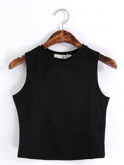 Solid color black round neck cotton crop tank top
