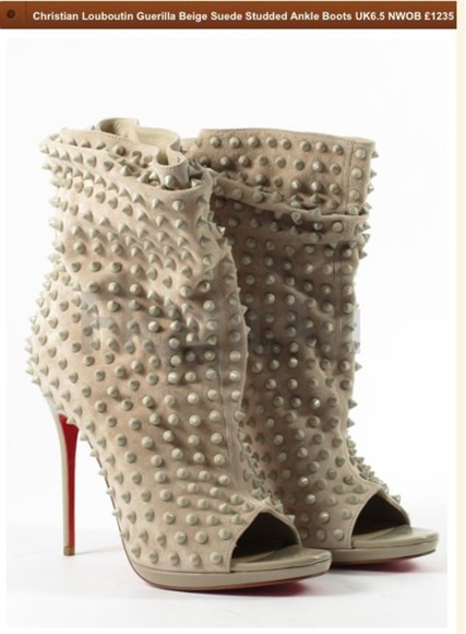 christian louboutin red bottoms beige 120 stud ankle boots suede
