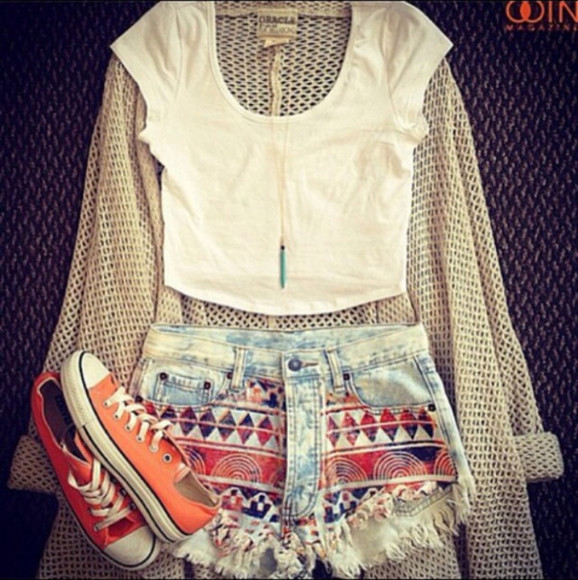 shorts top shoes t-shirt clothes aztec short aztec cardigan
