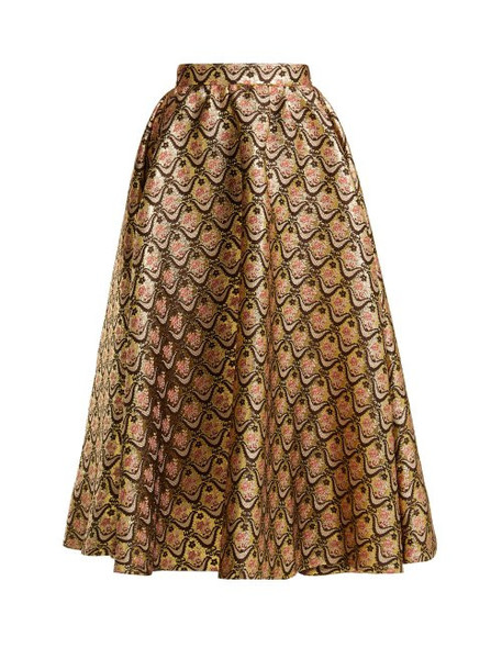 Rochas - Floral Brocade Midi Skirt - Womens - Gold Multi