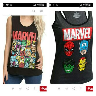 shirt tank top t-shirt marvel superheroes marvel black t-shirt marvel tank top