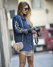 jacket,tumblr,denim jacket,blue jacket,embroidered,embroidered denim jacket,embroidered jacket,dress,gold dress,bag,fringed bag,nude bag,sunglasses