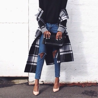 coat black and white flannel coat ripped jeans clutch purse high-heels shoes shirt