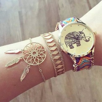 jewels original clock gold sequins fashion style anchor bracelet dreamcatcher