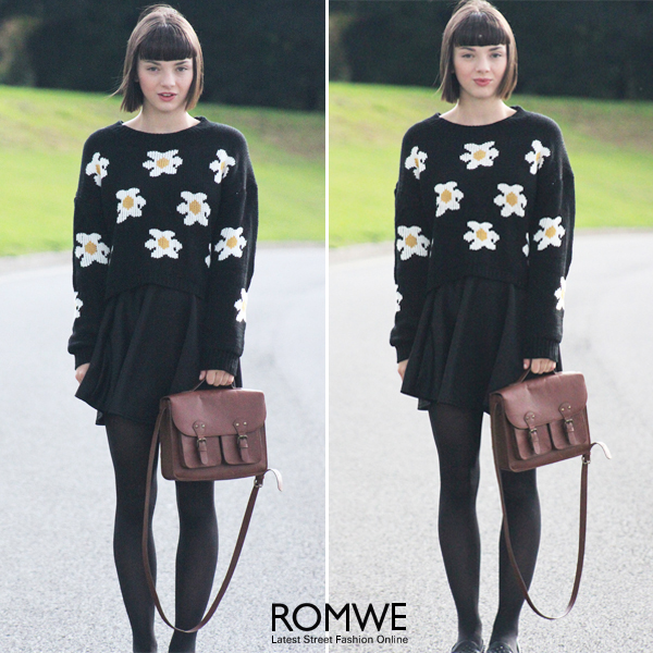 ROMWE | Daisy Knitted Black Jumper, The Latest Street Fashion