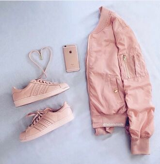jacket pink purple coat shoes pastel pink urban pastel pink adidas superstars adidas shoes pink sneakers summer bomber jacket pink bomber jacket where did u get that adidas shorts womens adidas shoes adidas adidas originals black adidas shoes