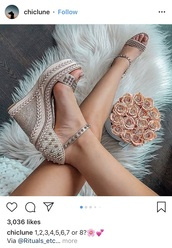 shoes,beige/ nude spiked wedges  with braided   heel
