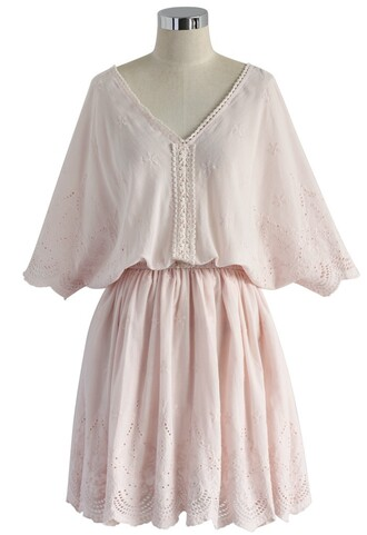 dress embroidered dress pink v neck