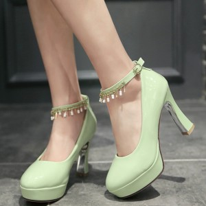 Women's Cyan Almond Toe Chunky Heels Platform Ankle Strap Pumps For Prom
