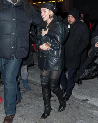 jacket boots knee high boots miley cyrus leather