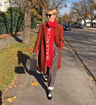 coat tumblr brown coat scarf knit knitted scarf top red top pants grey pants shoes sunglasses cat eye bag