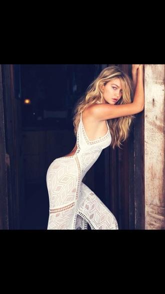 dress white backless gigi hadid lace