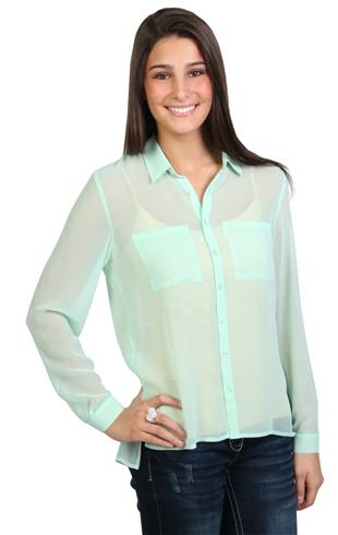 Long sleeve blouse with button up front and pockets