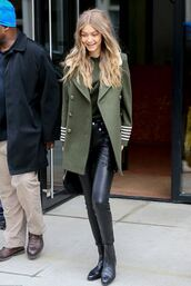 coat,gigi hadid,model off-duty,streetstyle,military style