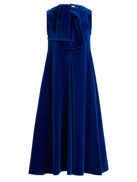 MAISON RABIH KAYROUZ dress midi dress sleeveless midi cotton velvet dark blue dark blue