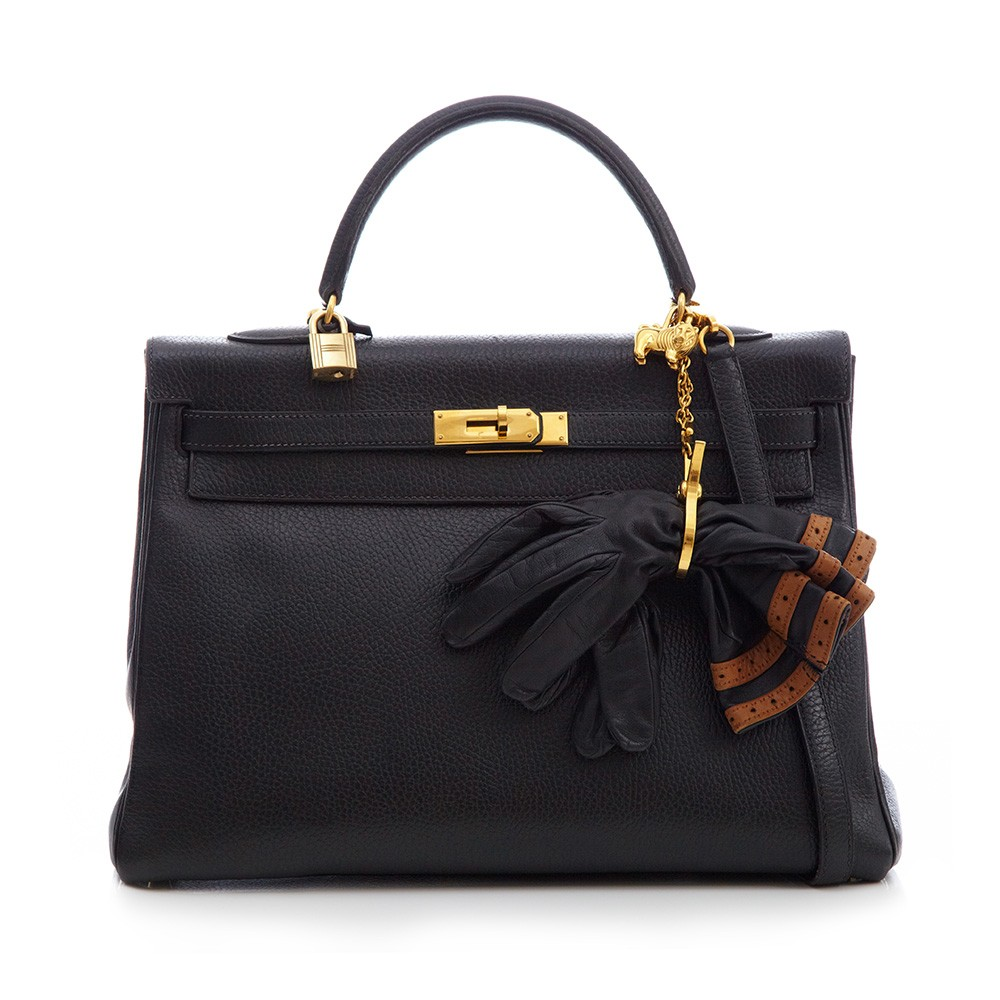 Hermès Black Leather 35cm Kelly Bag, Gloves & Lion Keychain | Portero Luxury
