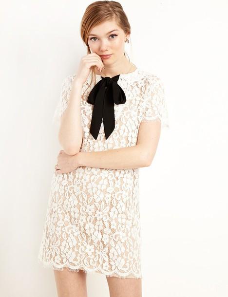 dress, bow lace tie shift dress, bow dress, lace dress, shift dress ...