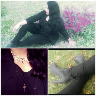 jacket witch grunge grunge witch jeans black all black everything cross necklace karenaguilera