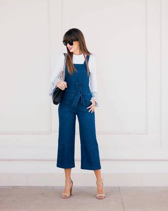 jumpsuit overalls tumblr dungarees blue overalls denim overalls sandals sandal heels high heel sandals top white top